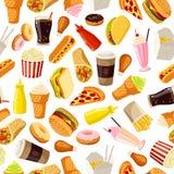 Teste padrão sem emenda com fast food dos desenhos animados Vector a ilustração, EPS10 Fotos de Stock