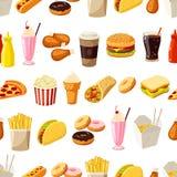 Teste padrão sem emenda com fast food dos desenhos animados Vector a ilustração, EPS10 Imagens de Stock Royalty Free