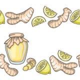 Teste padrão sem emenda com fatias do mel, do gengibre e do limão ilustração do vetor