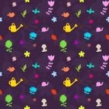 teste padrão sem emenda com ferramentas e flores de jardinagem Imagem de Stock