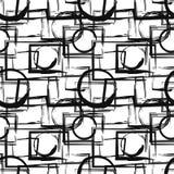 Teste padrão sem emenda com figuras geométricas pretas abstratas no estilo do grunge Elementos do projeto do vetor ilustração do vetor