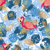Teste padrão sem emenda com flamingo cor-de-rosa e as folhas tropicais ilustração do vetor