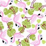 Teste padrão sem emenda com flamingos cor-de-rosa e folhas de palmeira verdes fotos de stock