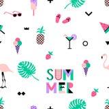 Teste padrão sem emenda com flamingos cor-de-rosa, gelado do verão, morango Imagens de Stock