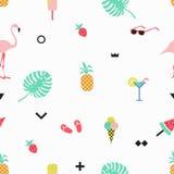 Teste padrão sem emenda com flamingos cor-de-rosa, gelado do verão, morango Foto de Stock