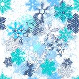 Teste padrão sem emenda com flocos de neve azuis Foto de Stock