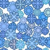 Teste padrão sem emenda com flocos de neve azuis, fundo liso simples do inverno imagem de stock royalty free