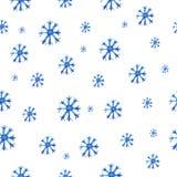 Teste padrão sem emenda com flocos de neve da aquarela Foto de Stock