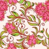 Teste padrão sem emenda com flor cor-de-rosa Imagens de Stock Royalty Free