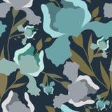Teste padrão sem emenda com flor da íris Cópia colorida de matéria têxtil Imagem de Stock