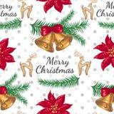 Teste padrão sem emenda com flor e sinos de Natal Imagens de Stock