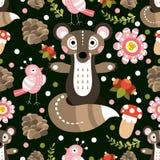 Teste padrão sem emenda com flora e fauna da floresta Vetor Illustratio Fotografia de Stock Royalty Free