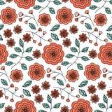 Teste padrão sem emenda com a flora vermelha bonito Foto de Stock