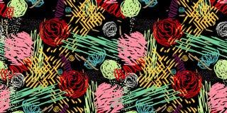Teste padrão sem emenda com flores abstratas ilustração do vetor