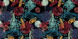 Teste padrão sem emenda com flores abstratas ilustração royalty free