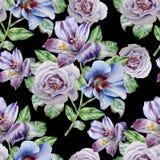 Teste padrão sem emenda com flores Alstroemeria Rosa Ilustração da aguarela Foto de Stock Royalty Free