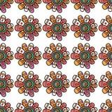 Teste padrão sem emenda com flores bonitas Ilustração do vetor para Imagens de Stock