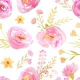 Teste padrão sem emenda com flores cor-de-rosa Foto de Stock Royalty Free