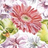 Teste padrão sem emenda com flores da aquarela Fotografia de Stock