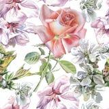 Teste padrão sem emenda com flores da aquarela Imagens de Stock Royalty Free