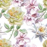 Teste padrão sem emenda com flores da aquarela Rosa Imagens de Stock Royalty Free