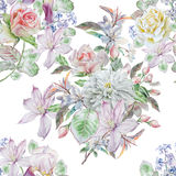 Teste padrão sem emenda com flores da mola Rosa chrysanthemum Clematis Jacinto Flor íris watercolor Imagens de Stock