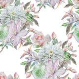 Teste padrão sem emenda com flores da mola Rosa chrysanthemum Clematis watercolor Fotos de Stock Royalty Free