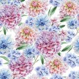 Teste padrão sem emenda com flores dahlia anemone Peônia Ilustração da aguarela Fotografia de Stock