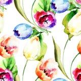 Teste padrão sem emenda com flores das tulipas Imagens de Stock Royalty Free
