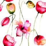 Teste padrão sem emenda com flores das tulipas Fotos de Stock Royalty Free