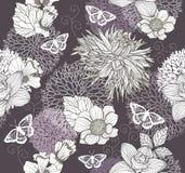 Teste padrão sem emenda com flores e borboleta Fotografia de Stock