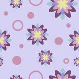 Teste padrão sem emenda com flores e círculos ilustração stock