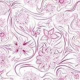 Teste padrão sem emenda com flores e linhas do enrolamento Étnico, floral, retro, garatuja, elemento tribal do projeto ilustração do vetor
