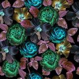 Teste padrão sem emenda com flores em um fundo preto Imagem de Stock