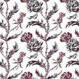 Teste padrão sem emenda com flores estilizados e folhas do cardo ilustração royalty free