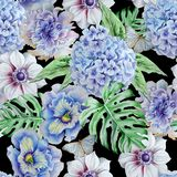 Teste padrão sem emenda com flores Monstera anemone pansies Hudrangeya Ilustração da aguarela Imagem de Stock