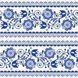 Teste padrão sem emenda com flores, ornamento repetitivo do vetor do estilo escandinavo dos azuis marinhos da arte popular nórdic Fotos de Stock