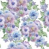 Teste padrão sem emenda com flores Peônia anemone Ilustração da aguarela Imagem de Stock Royalty Free