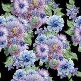 Teste padrão sem emenda com flores Peônia anemone Ilustração da aguarela Fotografia de Stock