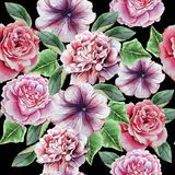Teste padrão sem emenda com flores Peônia Rosa petunia Ilustração da aguarela Fotografia de Stock Royalty Free