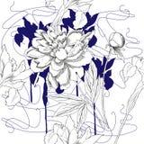 Teste padrão sem emenda com flores preto e branco Fotos de Stock
