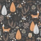 Teste padrão sem emenda com flores, raposas e cogumelos ilustração royalty free