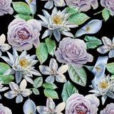 Teste padrão sem emenda com flores Rosa Lírio Ilustração da aguarela Imagem de Stock