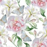 Teste padrão sem emenda com flores Rosa lilia Borboleta Ilustração da aguarela Foto de Stock
