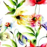 Teste padrão sem emenda com flores stylied Fotografia de Stock