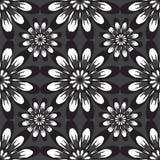Teste padrão sem emenda com flores Textura do vintage Contexto monocromático Foto de Stock Royalty Free