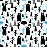 Teste padrão sem emenda com floresta e ursos Fotografia de Stock
