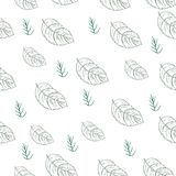 Teste padrão sem emenda com folhas ilustração do vetor
