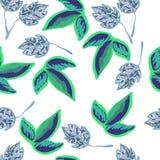 Teste padrão sem emenda com folhas Imagens de Stock Royalty Free