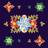 Teste padrão sem emenda com folhas decorativas Ornamento floral no fundo ultravioleta Ilustração do vetor Imagens de Stock